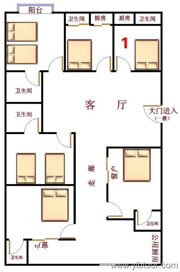 三亚军嫂家庭旅馆 一楼1号房房间该套房中的位置平面图