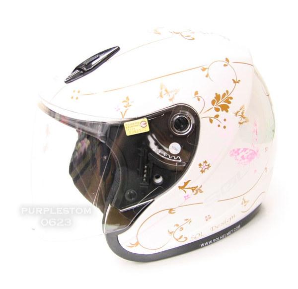 snd☆sol正品进口台湾摩托车头盔17s蝴蝶白粉高